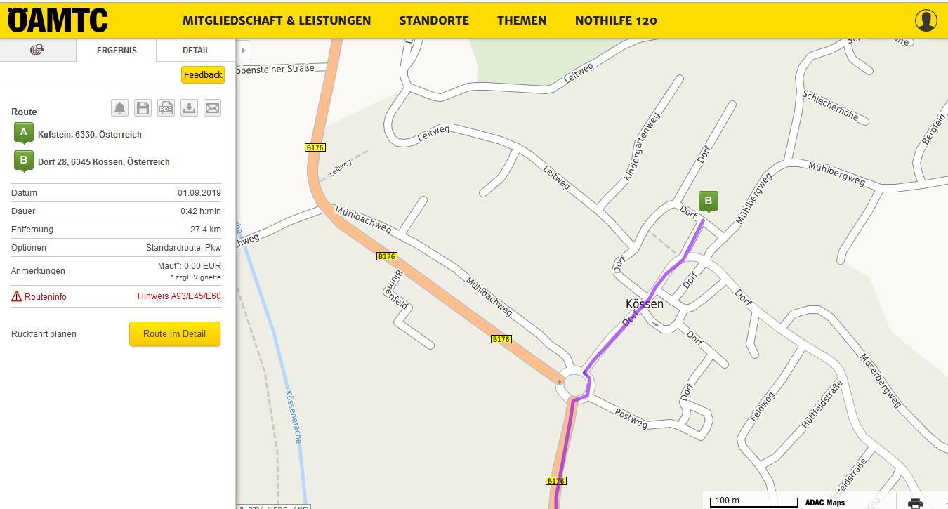 IHR WEG zum Restaurant  Die Schmiede  A-6345 Kössen, Dorf 28 - B176 ~ powered by HKH Webmaker - www.LosRein.de !