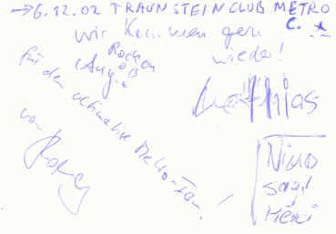 · Das Virginia Jetzt! Autogramm  gruss C.   Nino Thomas Matthias Angelo  ·